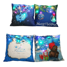 Linen Cushion Cover Merry Christmas Led Pillowcase cartoon printed Pillow Living Room Bed Parlor Kussenhoes