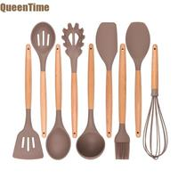 QueenTime 9Pcs/Set Silicone Kitchen Utensils Spatula Long Spoons Soup Ladle Slotted Turner Heat Resistant Scraper Cooking Gadget