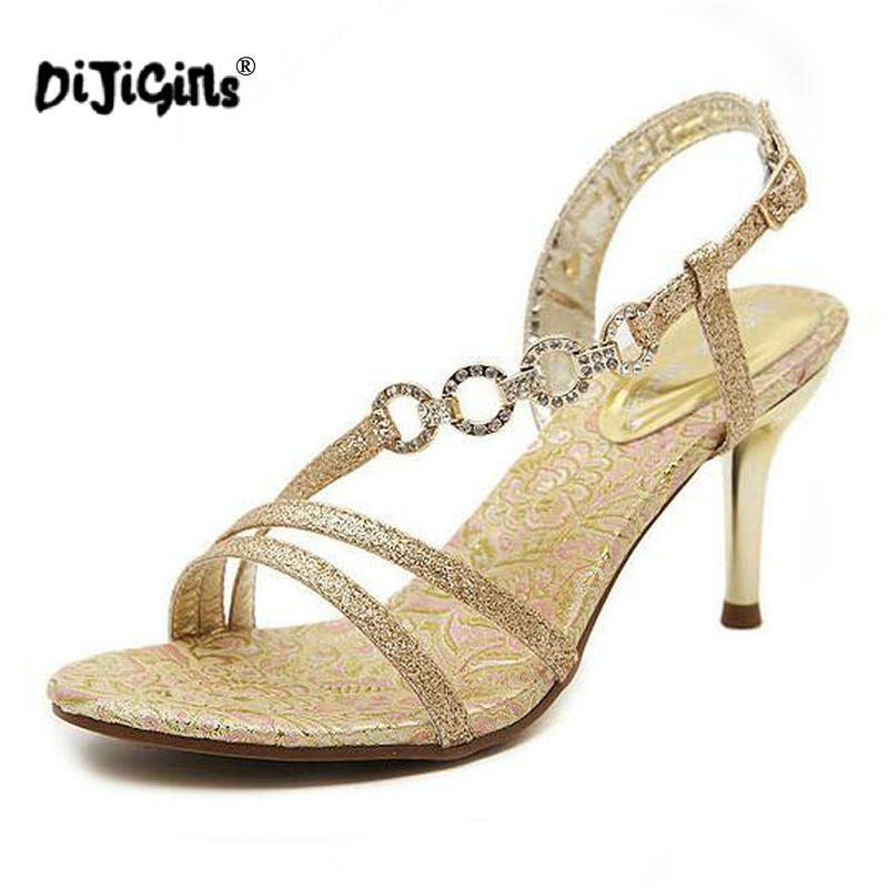 2aa12d44b7b Summer New Sandals Elegant Gold Plating Thin heel Gold Heels Rhinestone  Wedding Party Shoes Women High Heels Sandal Women Pumps