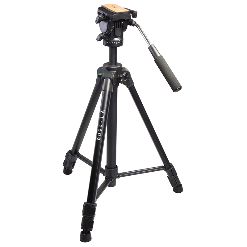 Kingjoy VT-1500 Professional Aluminum Video Camera Studio Photo Tripod with Fluid Head for film video shooting Max Loading 22lb professional dv camera crane jib 3m 6m 19 ft square for video camera filming with 2 axis motorized head