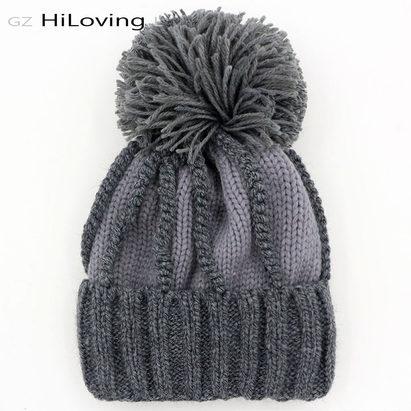 Big Winter Knitted Pom Pom Hat For Womens Warm Thick Fleece Acrylic Women s  Winter Beanie Hat Girls Casual Gorros Caps Bonnet -in Skullies   Beanies  from ... 764a48b0d