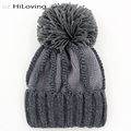 Big Winter Knitted Pom Pom Hat For Womens Warm Thick Fleece Acrylic Women's Winter Beanie Hat Girls Casual Gorros Caps Bonnet