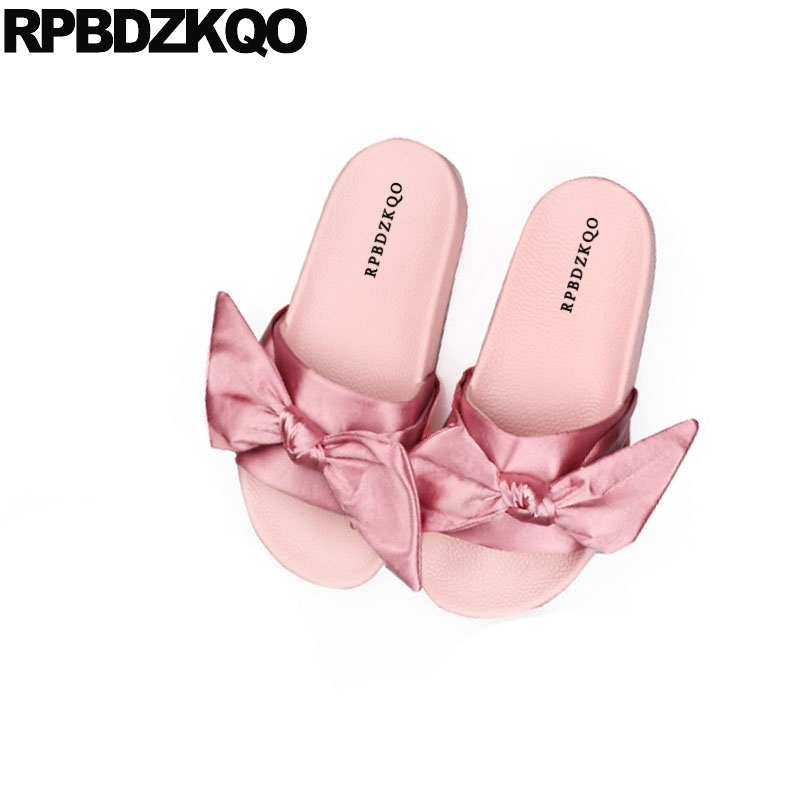 2018 Satin Open Toe Bowtie Cute Soft Ladies Slip On Bow Slides Gold Kawaii Women Sandals Flat Casual Shoes Embellished Pink