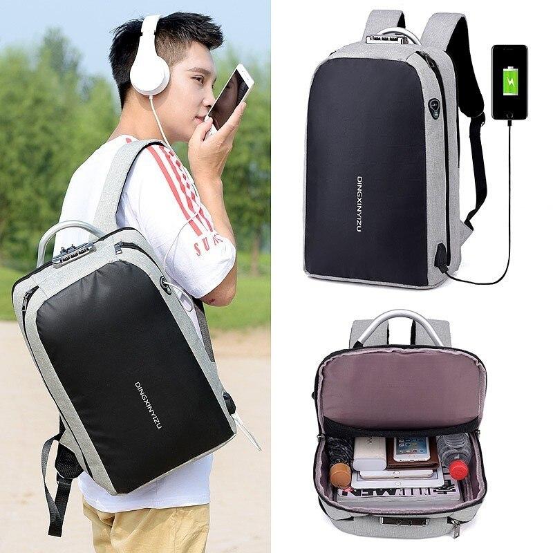 2018 Men Ms Backpack Anti-theft USB Charge Port waterproof Laptop Mochila Reflective Tape High-capacity School Borsa da scuola