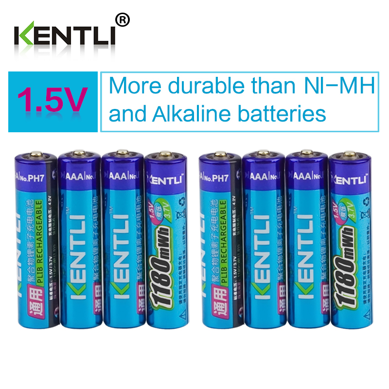 KENTLI 8pcs no memory effect 1.5v 1180mWh AAA polymer lithium li-ion rechargeable batteries aaa battery free shipping kentli 6pcs1 5v aaa battery 1100mwh aaa rechargeable li ion polymer lithium battery 1pcs intelligent fast charger