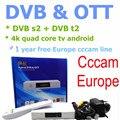 4 k Quad-core tv box OTT + DVB SMART BOX, Android DVB s2 + Línea Cccam DVB t2 TV Box puede Apoyar A Europa