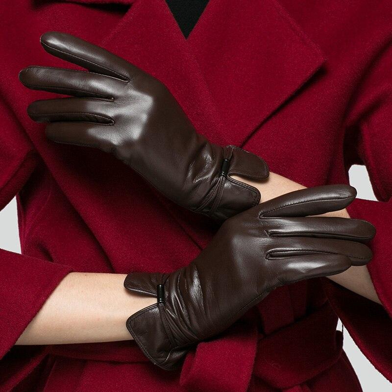 KLSS Brand Touch Screen Genuine Leather Women Gloves 2019 Winter High Quality Goatskin Gloves Elegant Lady Sheepskin Glove 83 in Women 39 s Gloves from Apparel Accessories