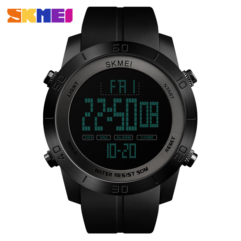 SKMEI Men Digital Watch 2Time PU Strap Waterproof Multi-Function Wristwatches Men 12/24Hour Clock Watch relogio masculino XFCS