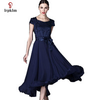 2018 New Plus Size 4XL Women Spring Summer Long Dress Ladies O neck Print Slim Wiast Party Dresses 4Color PQ243