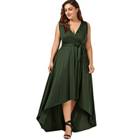 LANGSTAR 2017 New Fashion Plus Size V Neck High Low SunDress Sexy Sleeveless Asymmetrical Big Size