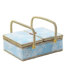 D&D 5 Designs Flat Double Cover Sewing Storage Basket Box for Sewing Tools Clothes Sundries Home Storage Organizer for Underwear