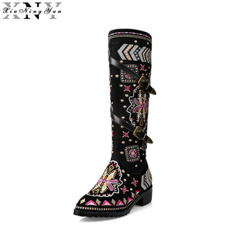 XiuNingYan Cow Suede Leather Boots Women Buckle Botas Snow Boots Zipper Embroidery Cow Split Sutumn Knee High Boots Size 34-43