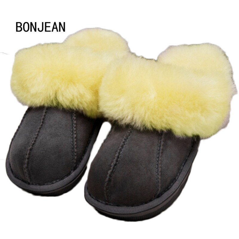 a2593bab724 Winter Warm Indoor Shoes Thick Wool Slippers Women Men Couple Furry  Sheepskin Slippers Australia Genuine Leather