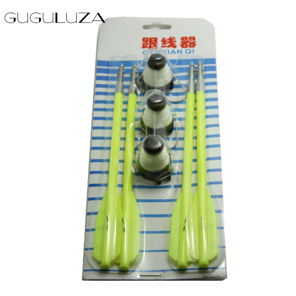 GUGULUZA Yellow 4 Fishing Bolts For 50 to 130 Pounds <font><b>Crossbow</b></font> & 3 Fishing Line Wheel image