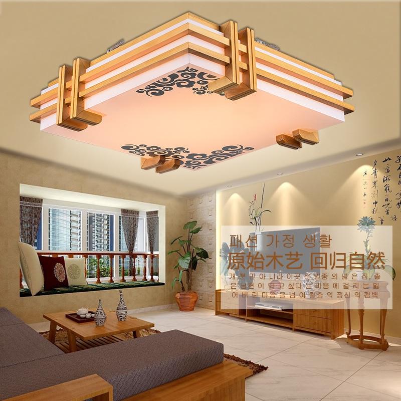 Японский стиль СИД нежный ремесел деревянные Рамки потолочный светильник светодиодный потолочный огни Luminarias Para Sala затемнение светодиодны...