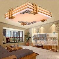 Estilo japonês led artesanato delicado quadro de madeira luz de teto led luzes de teto luminarias parágrafo sala escurecimento conduziu a lâmpada do teto