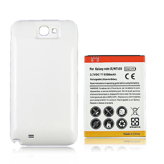 High Capacity 6500mAh Replacement Battery For Samsung Galaxy Note 2 II N7100 Mobile Phone Battery with White Back Case Cover