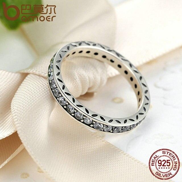 BAMOER Originale 100% 925 Sterling Silver Ring Finger Autentici Gioielli Di Lusso Per Le Donne di Nozze PA7119