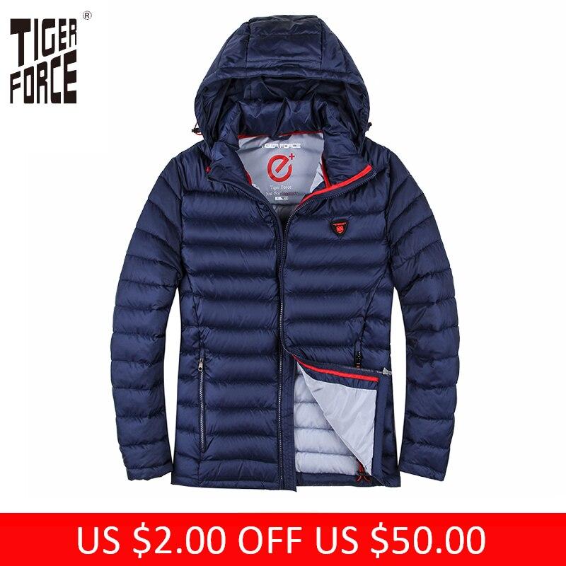 TIGER FORCE 2018 Winter Jacket Men Polyester Coat Bio-based Cotton Padded Coat Fashion Causal Jacket Male Hooded Puffer Jacket