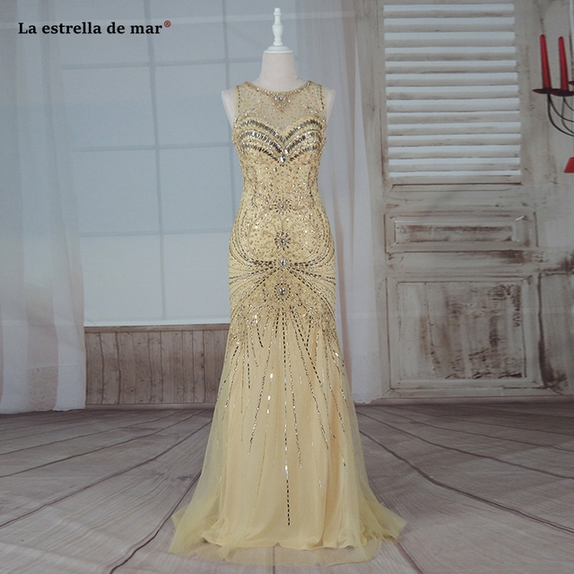 Vestido formatura 2019 new lace crystal back sexy mermaid gold prom dresses long luxury abiye gece elbisesi real photo