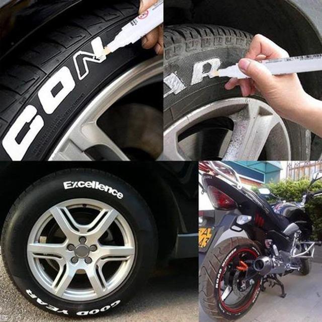 5 Color Waterproof Car Wheel Tire Oily Car Paint Pen Painting Mark Pen Auto Rubber Tyre Tread CD Metal Permanent Paint Marker