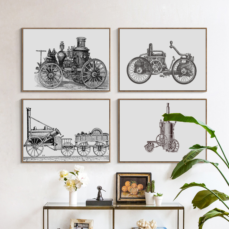 Car History Collection Progressive Black and White A4 Canvas Painting Art Print Poster Picture Wall Paintings Home Decor