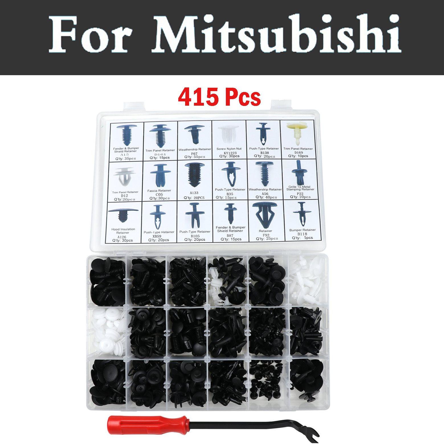 415pcs Car Assembly Expansion Clip Assortment Kit Rivets For Mitsubishi Airtrek Attrage Carisma Challenger Colt Eclipse Endeavor