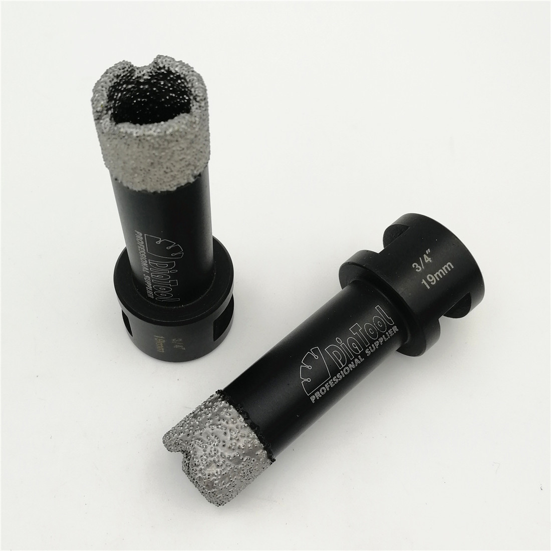 DIATOOL 2pcs 3/4 Vacuum brazed diamond Dry drilling bits 19mm with 5/8-11 connection porcelain tile marble stone Masonry brick diatool 5pcs set vacuum brazed diamond drill core bits with 15mm teeth 20 32 45 55 68mm hole saw granite marble ceramic tile