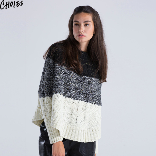 91d56962d Women Sweater Cable Knitted Colorblock Cape Poncho Oversized Batwing Long  Sleeve Loose Casual Jumper Pullover 2017 Autumn Fall