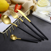 Best Hot Sale 4 Pcs/set Black Gold Dinnerware Set 304 Stainless Steel Western Cutlery Kitchen Food Tableware Dinner
