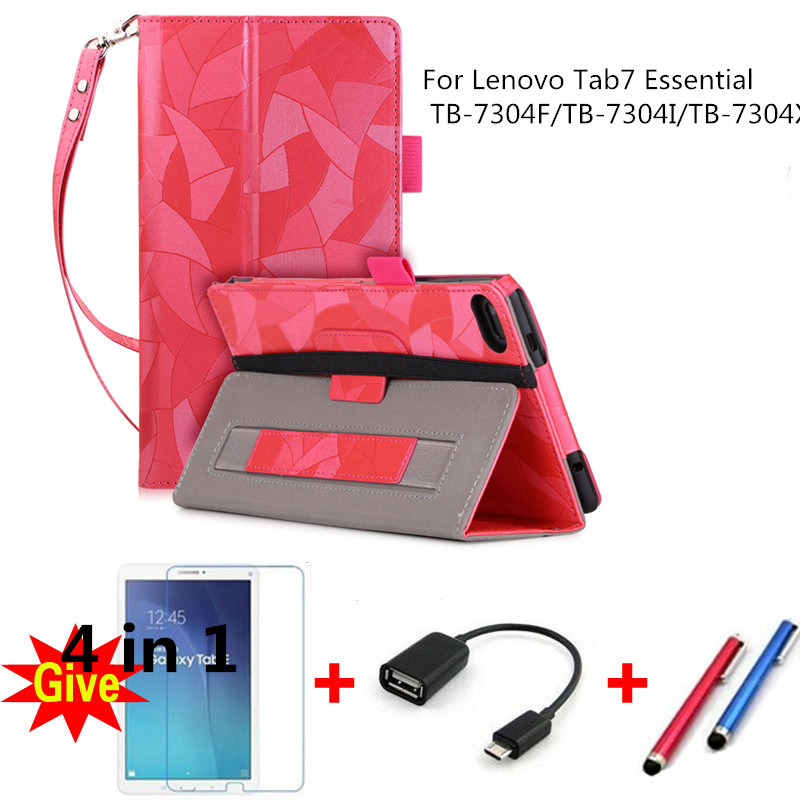 For 2017 Lenovo Tab7 Essential PU Leather Cases for Lenovo Tab7 Essential TB-7304F/TB-7304I/TB-7304X tablet case With hand wrist ynmiwei for miix 320 tablet keyboard case for lenovo ideapad miix 320 10 1 leather cover cases wallet case hand holder films