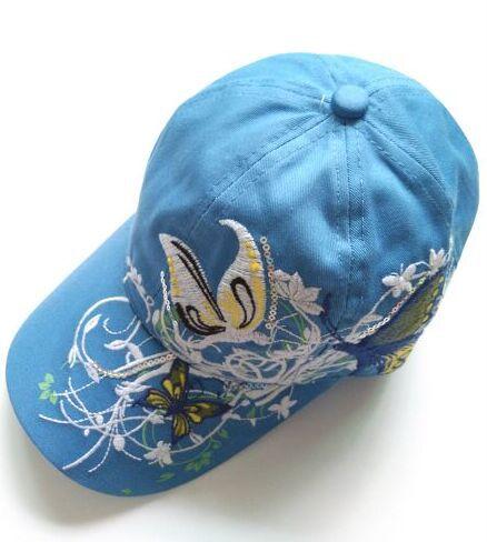 1 шт. 2017New модные с вышивкой в виде бабочек и летняя кепка-бейсболка Стиль женский рюкзак шляпу 7 цветов - Цвет: Синий