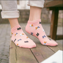 5 Pairs Women Funny Socks Casual Boat Low Cut Summer Style Candy Color Funny Cute Cats Faces Short Ankle Socks Crew Hot New