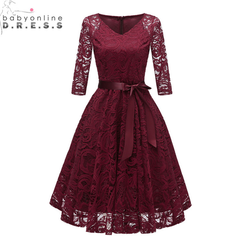 Cheap Three Quarter Sleeve Lace Appliques   Evening     Dress   Short V Neck Cut-out   Evening   Gowns with Sashes Vestidos Curto