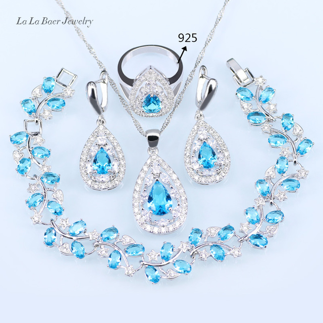 L&B Wedding Bridal Jewelry Sets Sky Blue Opal White Zircon Silver Color Leaf Bracelets/Pendant/Necklace Chain/Earrings/Rings