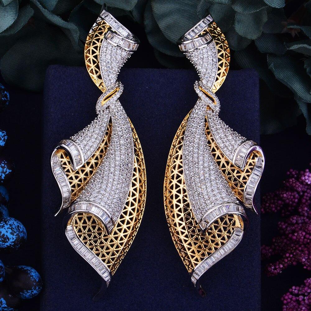 GODK 98mm grand luxe exclusif plein Mirco cubique Zirconium Naija mariage femmes boucle d'oreille bijoux de mode