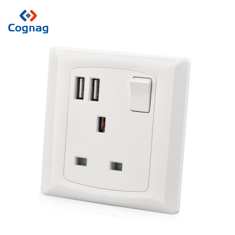 USB wall socket outlet with 2 USB port White UK type G Electrical power wall socket 220v in Electrical Sockets from Home Improvement