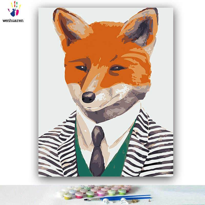 DIY colorings pictures by numbers with colors Animal illustration Mr. Animal picture drawing painting by numbers framed Home