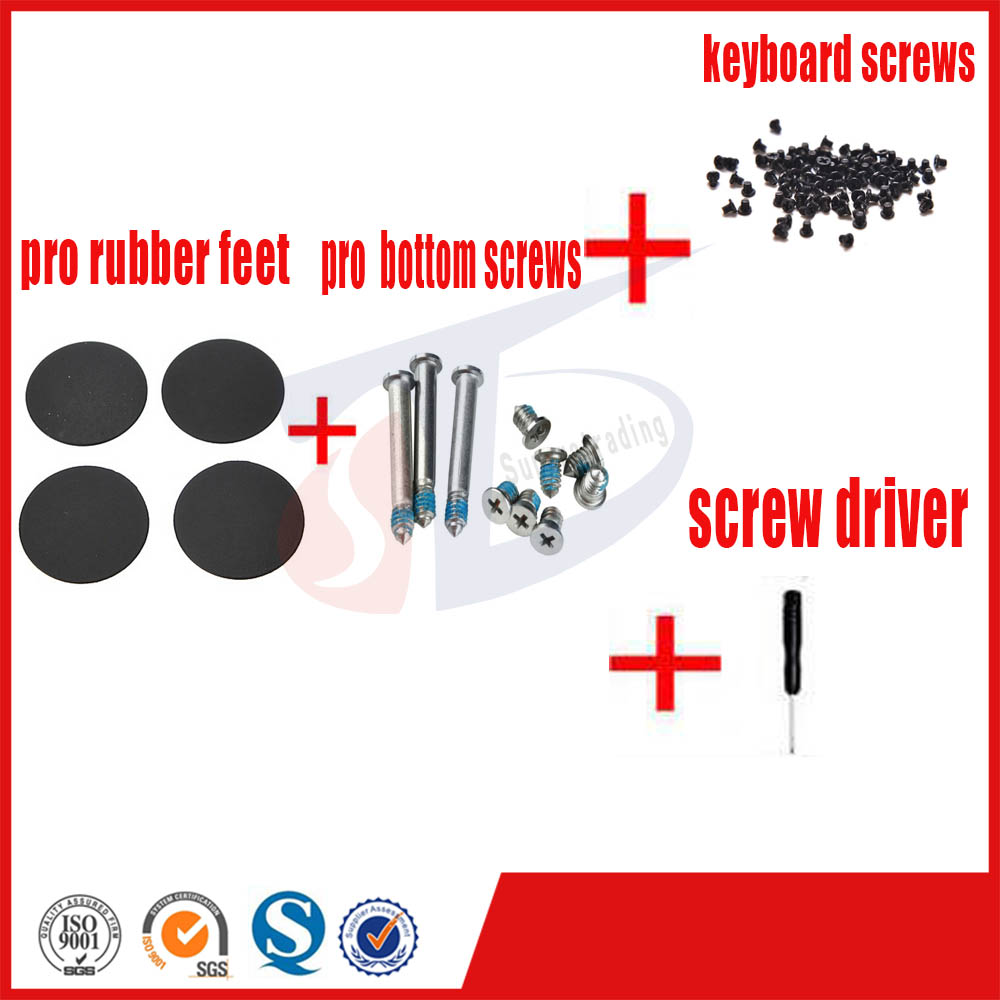 4pcs/set for macbook pro 13''15''17'' A1278 A1286 A1297 pro rubber feet foot bottom keyboard screws set screw driver genuine new for macbook pro retina a1502 a1398 a1425 13 15 rubber feet bottom case cover keyboard screws set repair tools