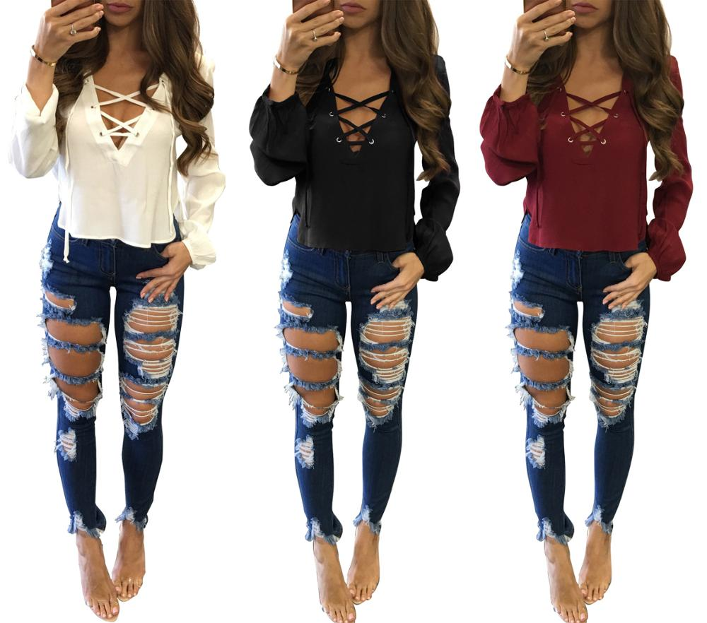 Sexy Womens Tops and   Blouses   Women Ladies Long Sleeve Loose Casual   Blouse   Summer V Neck Casual   Shirt   Lace Up Tops Blusas