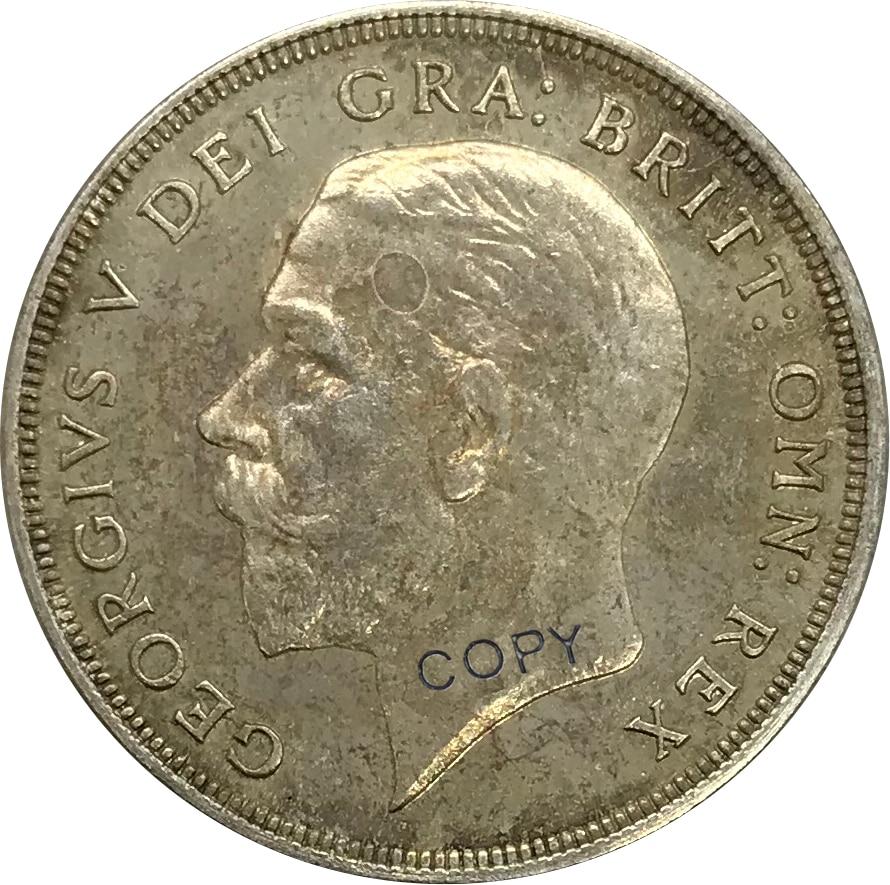 Большая Великобритания 1 Корона-Корона Джордж V венок 1928 Посеребренная копия монеты с мельхиком