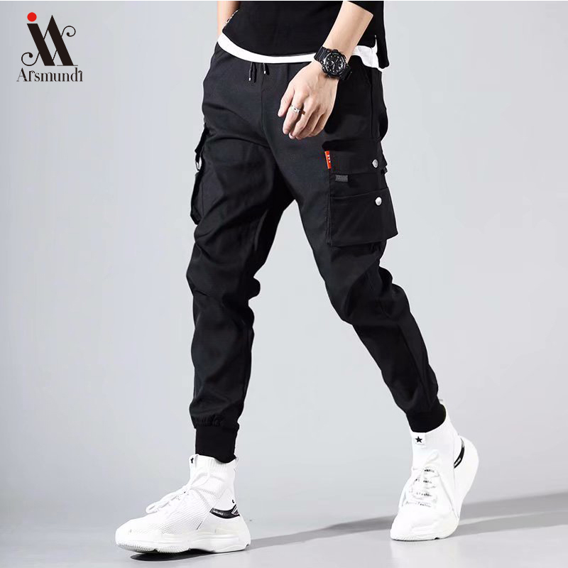 Men Black Joggers Pants Summer 2019 Mens Big Pockets Cargo Pants Male Spring Streetwear Overalls Sweatpants
