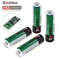4pcs Soshine 2700mAh 1 2V AA Battery NiMH Ni MH Rechargeable Battery For LED Flashlight Portable