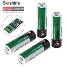 4 unids Soshine 2700 mAh 1.2 V Aa Ni-MH NiMH Batería Recargable para la Linterna del LED + Caja de La Batería Portátil Caja de almacenamiento