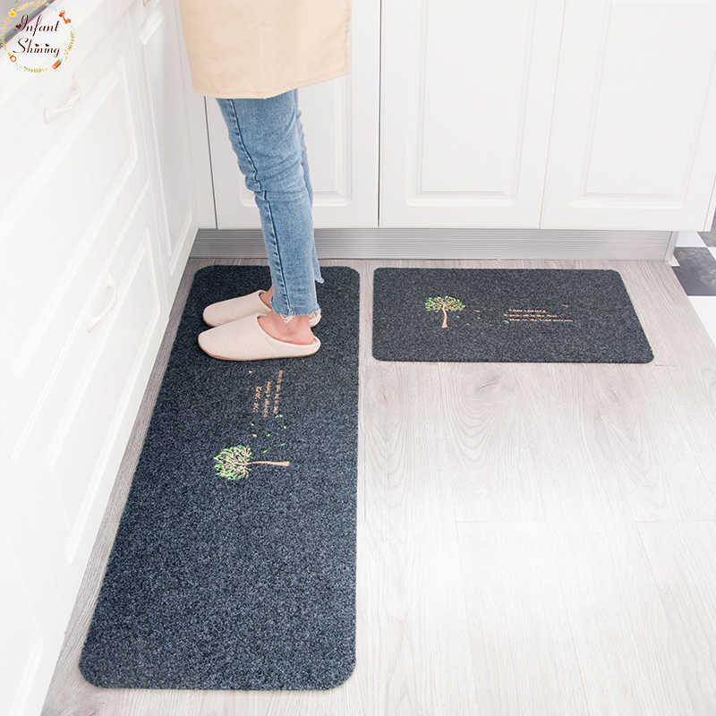 Infant Shining 2PCS Floor Mats  Non Slip Water Oil Absorption Carpet Long Kitchen Door Bathroom Mat Door Mat