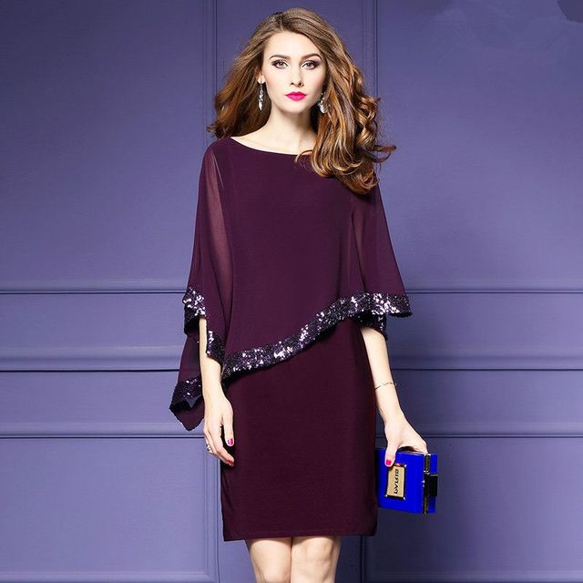 a0d94f469a3b1 US $22.5 |Plus Size 3XL Women's Clothing New Summer Fashion Batwing Sleeves  Dress Solid Color O neck Dresses Female-in Dresses from Women's Clothing ...