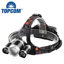 TOPCOM 10 W 3000 люмен светодиодные фары для кемпинга Running Перезаряжаемые XML T6+ 2* R2 LED Водонепроницаемый яркие И лучше фары