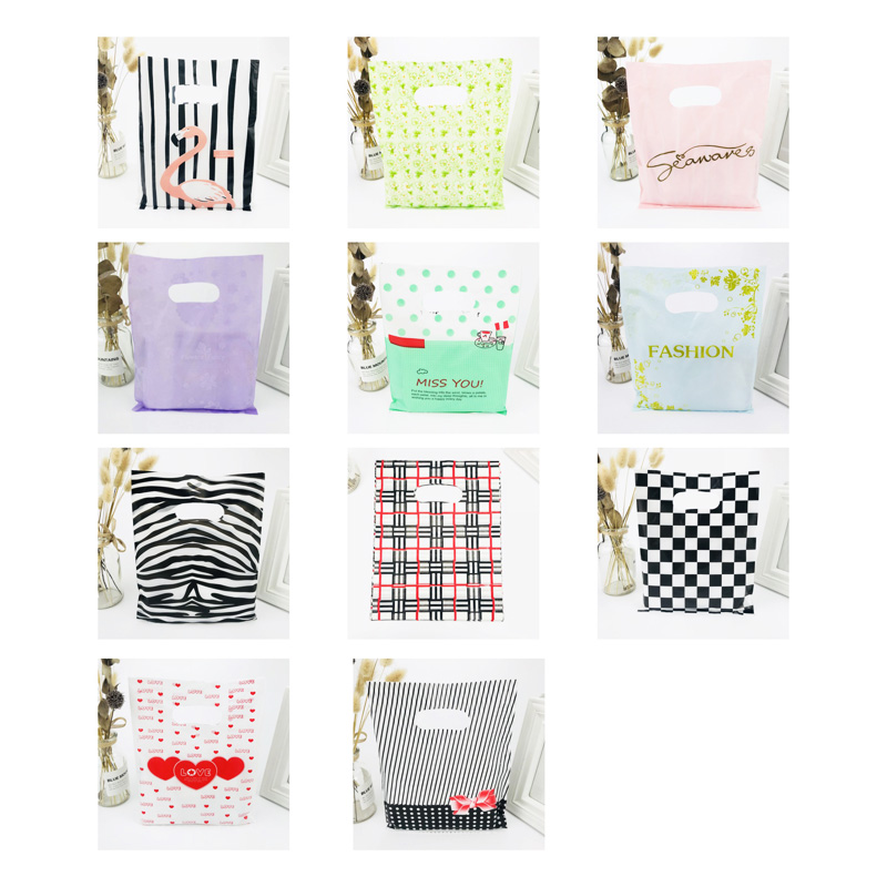 25x35 20x25 15x20 Cm 10pcs Clothes Storage Bag Shopping Plastic Bags With Handles Jewelry Wedding Plastic Pouch For Gift Packing