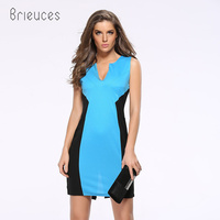 Brieuces Summer Casual Dress Dress Female Solid V Neck New Dress Female Light Green Blue High