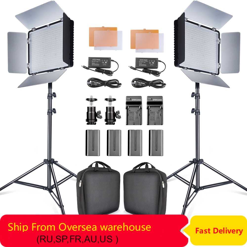 Travor 2set 600pcs studio camera photo light 3200K/5500K CRI93  led video light kit with 2m tripod and NP-F550 batteries youtube